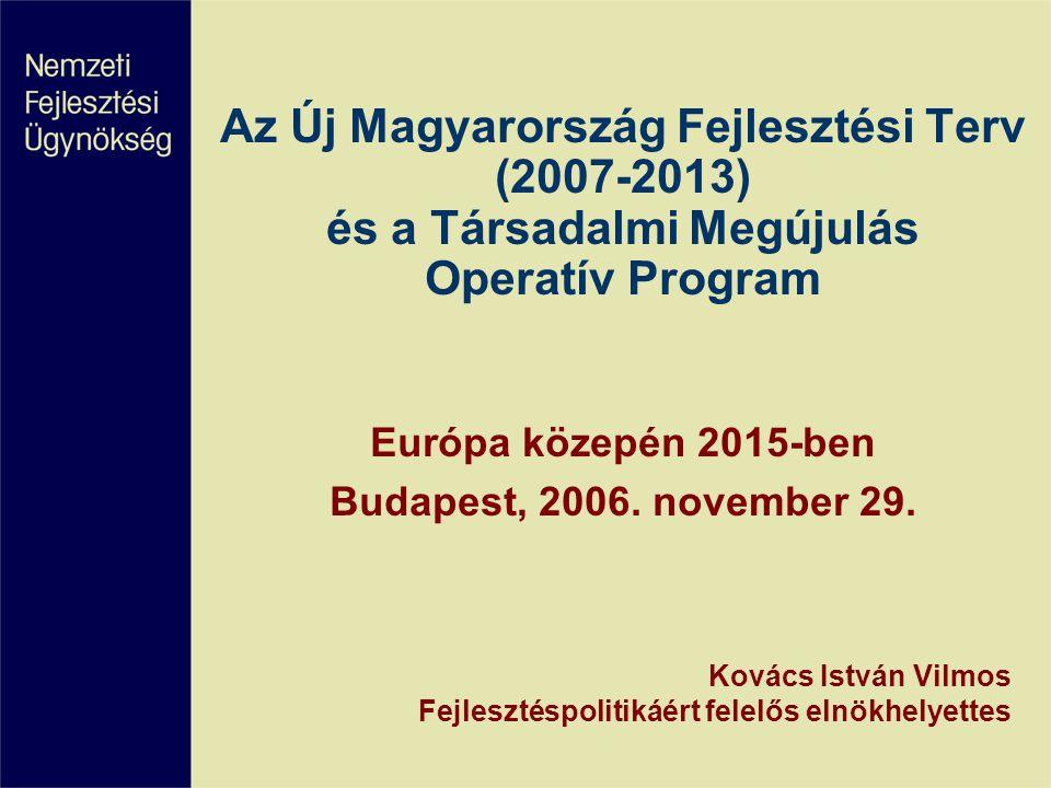 Az Új Magyarország Fejlesztési Terv (2007-2013) és a Társadalmi Megújulás Operatív Program Európa közepén 2015-ben Budapest, 2006. november 29. Kovács