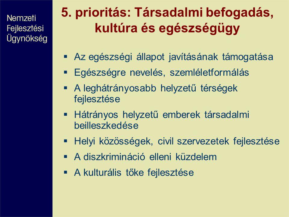 5. prioritás: Társadalmi befogadás, kultúra és egészségügy  Az egészségi állapot javításának támogatása  Egészségre nevelés, szemléletformálás  A l