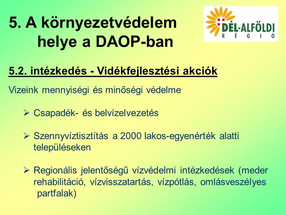 5.2. intézkedés - Vidékfejlesztési akciók Vizeink mennyiségi és minőségi védelme  Csapadék- és belvízelvezetés  Szennyvíztisztítás a 2000 lakos-egye