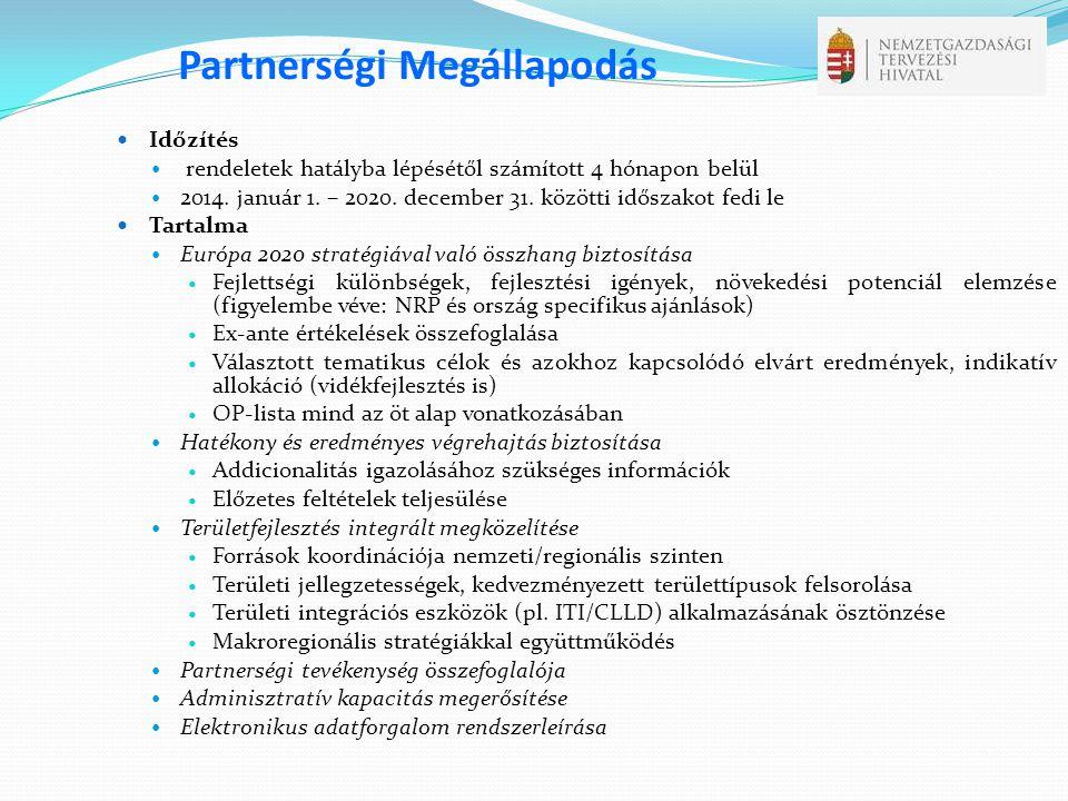 Partnerségi Megállapodás  Időzítés  rendeletek hatályba lépésétől számított 4 hónapon belül  2014. január 1. – 2020. december 31. közötti időszakot