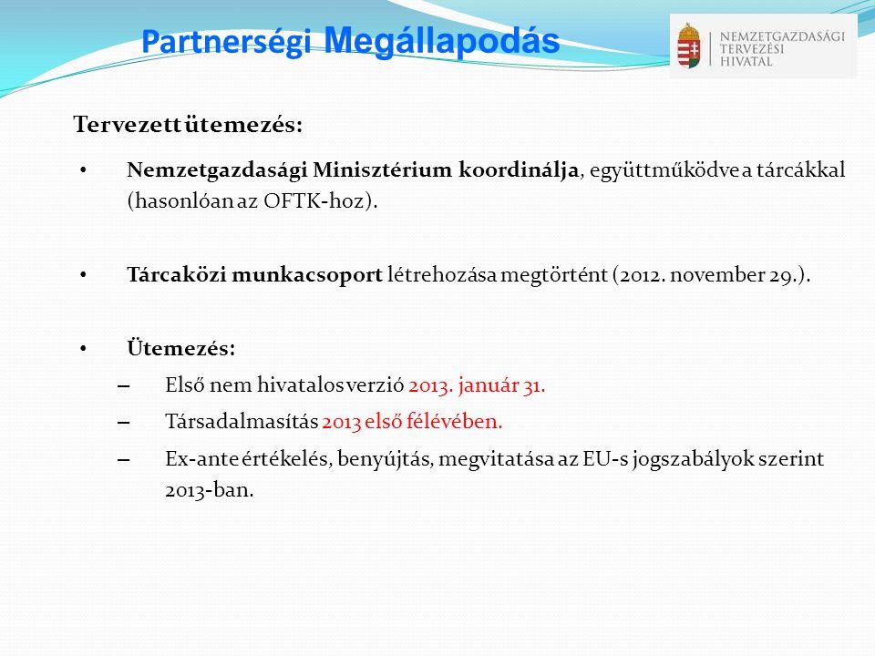 Tervezett ütemezés: • Nemzetgazdasági Minisztérium koordinálja, együttműködve a tárcákkal (hasonlóan az OFTK-hoz). • Tárcaközi munkacsoport létrehozás