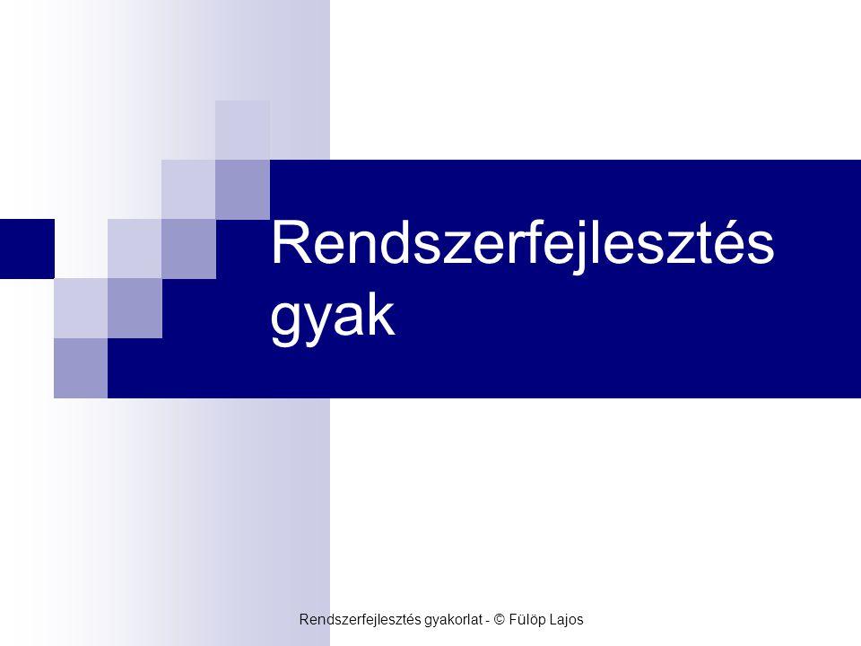 Szegedi Tudományegyetem – Szoftverfejlesztés Tanszék Rendszerfejlesztés gyakorlat - © Fülöp Lajos Mai óra  Teszt specifikáció  Tesztesetek, teszttervek, tesztelési jegyzőkönyv