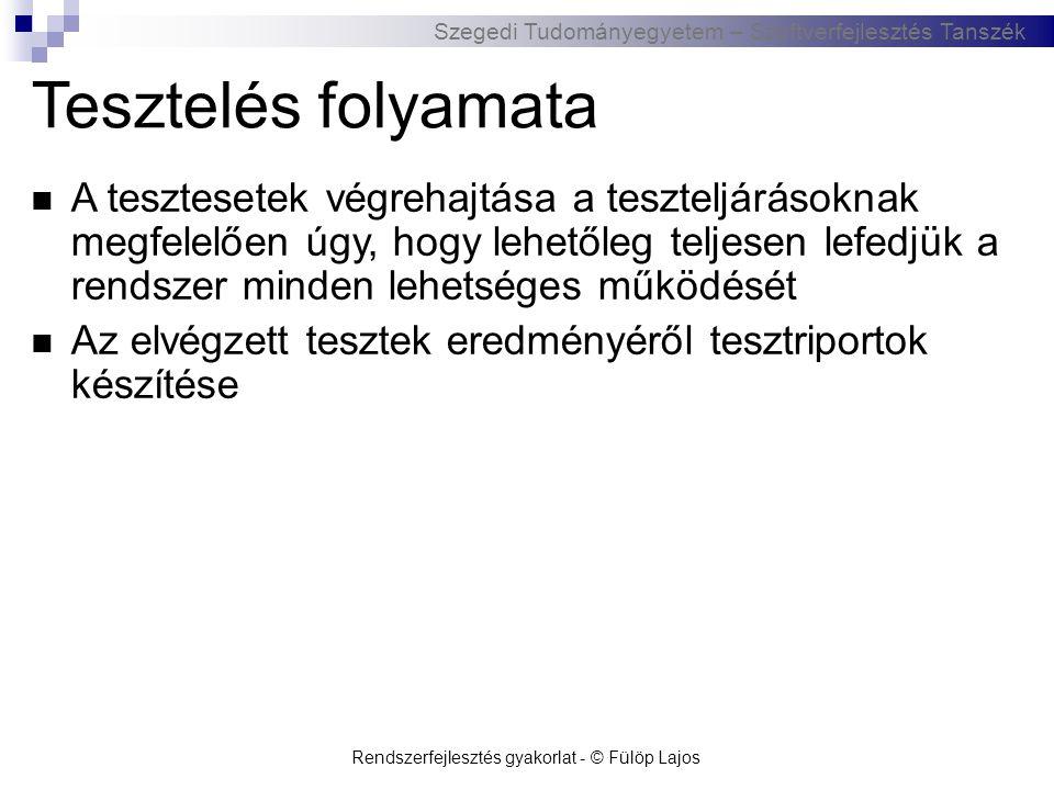 Szegedi Tudományegyetem – Szoftverfejlesztés Tanszék Rendszerfejlesztés gyakorlat - © Fülöp Lajos Tesztelés folyamata  A tesztesetek végrehajtása a t