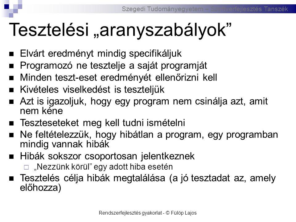 """Szegedi Tudományegyetem – Szoftverfejlesztés Tanszék Rendszerfejlesztés gyakorlat - © Fülöp Lajos Tesztelési """"aranyszabályok""""  Elvárt eredményt mindi"""