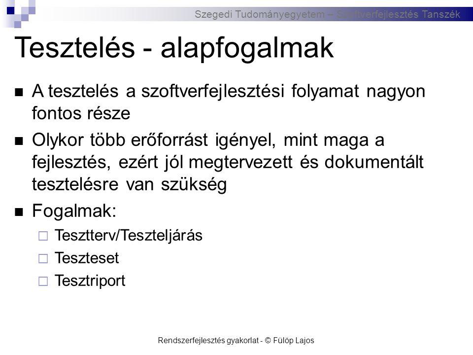 Szegedi Tudományegyetem – Szoftverfejlesztés Tanszék Rendszerfejlesztés gyakorlat - © Fülöp Lajos Tesztelés - alapfogalmak  A tesztelés a szoftverfej