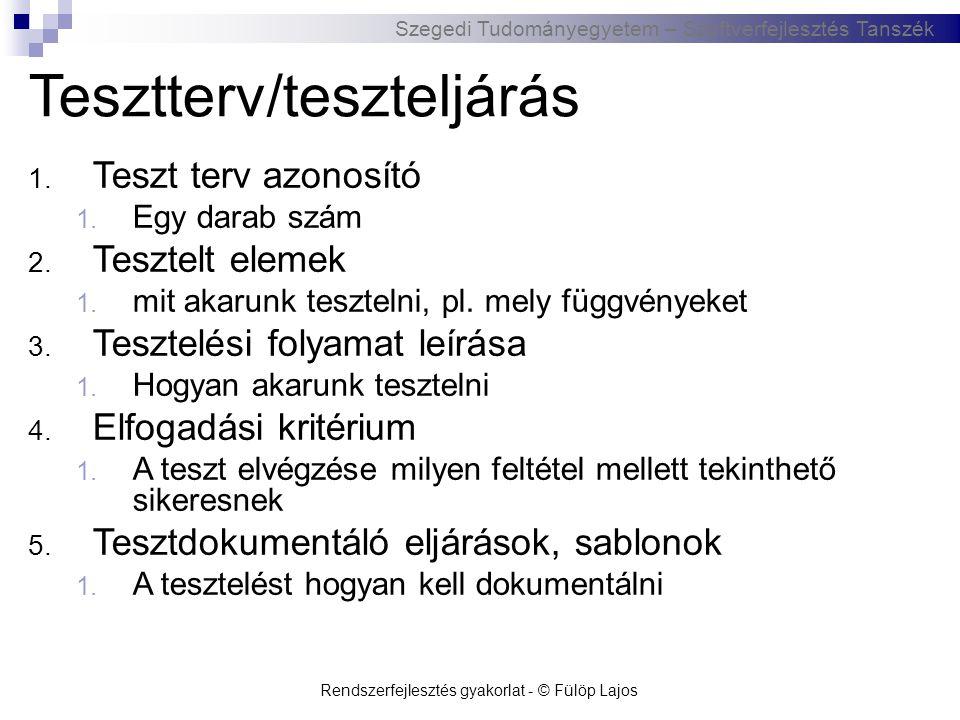 Szegedi Tudományegyetem – Szoftverfejlesztés Tanszék Rendszerfejlesztés gyakorlat - © Fülöp Lajos Tesztterv/teszteljárás 1. Teszt terv azonosító 1. Eg