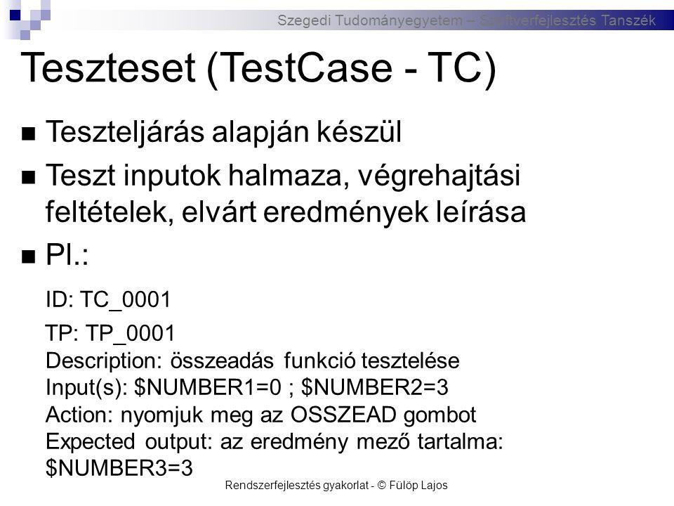 Szegedi Tudományegyetem – Szoftverfejlesztés Tanszék Tesztriport – (TestRiport - TR)  Teszteset végrehajtásának eredménye (a teszt helyes/helytelen eredményt adott)  Pl.