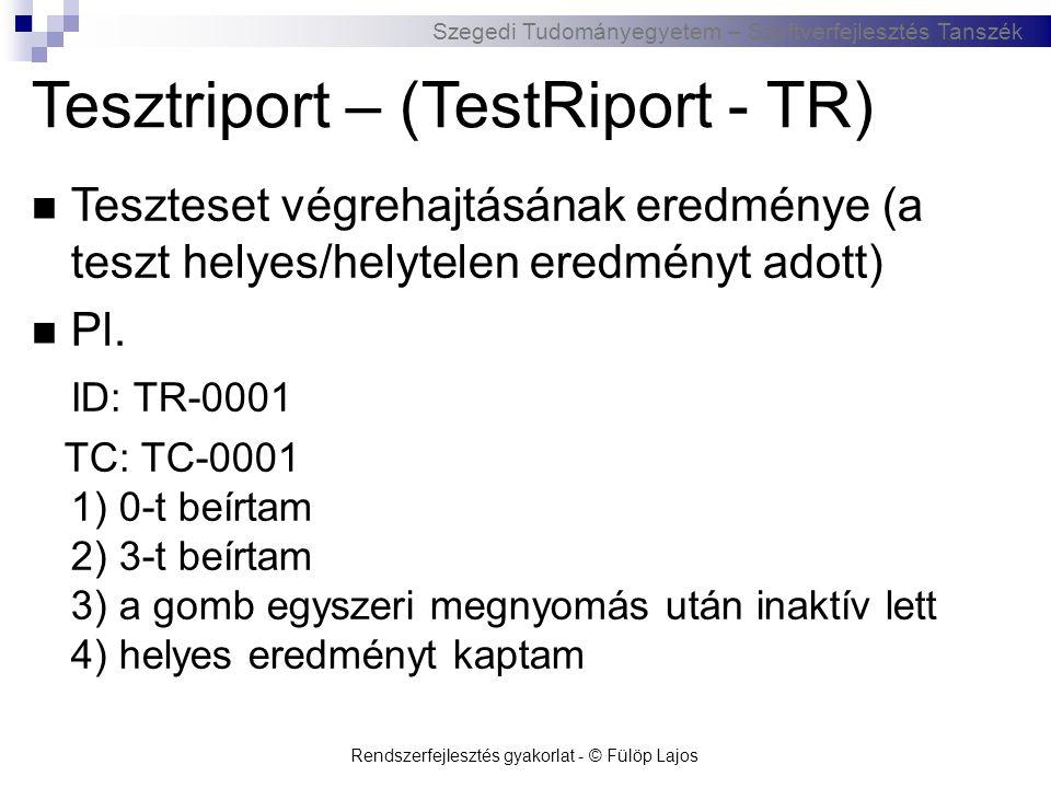 Szegedi Tudományegyetem – Szoftverfejlesztés Tanszék Tesztriport – (TestRiport - TR)  Teszteset végrehajtásának eredménye (a teszt helyes/helytelen e
