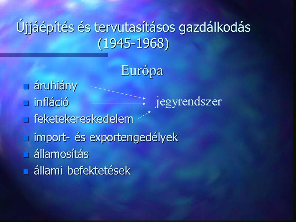 Újjáépítés és tervutasításos gazdálkodás (1945-1968) n áruhiány n infláció n feketekereskedelem jegyrendszer n import- és exportengedélyek n államosít