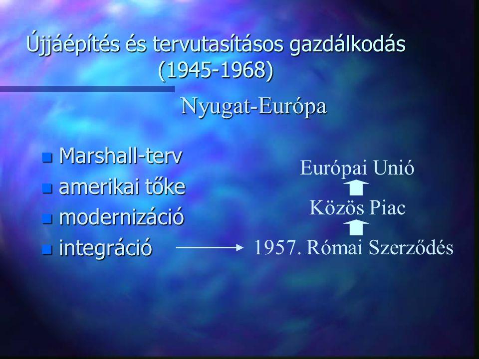 Újjáépítés és tervutasításos gazdálkodás (1945-1968) n Szocialista átalakítás  államosítás n Piaci funkció  NEM n Disztribúciós funkció  IGEN n Kereskedelem helyett  szocialista elosztás Magyarország lÁgazatok szétválasztása lSpecializáció  termékkörre és területre lMagánkereskedelem visszaszorul lSzövetkezeti kiskereskedelem átalakul  ÁFÉSZ