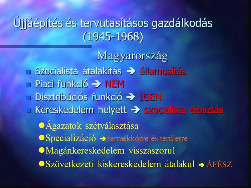 Újjáépítés és tervutasításos gazdálkodás (1945-1968) n Tervutasításos rendszer kiépülése  1951 n Áruellátási gondok  1952 n Rendszer működésképtelen  1956 n Mg.-i beszolgáltatás eltörlése  1956 n Magánkereskedelem szabadabb  1957 n Gazdasági reform  1968 Problémák!!!!!