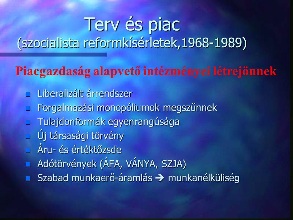 Terv és piac (szocialista reformkísérletek,1968-1989) n Állami monopóliumok csökkennek n Önkormányzó vállalatok n Egységes szövetkezeti törvény (1971) n Társasági jog újjáéledése (1978) n Kisvállalkozások ösztönzése (1981)  GMK n Szövetkezeti tulajdon egyenrangú az államival n Magántulajdon elismerése Változások a gazdasági jog területén