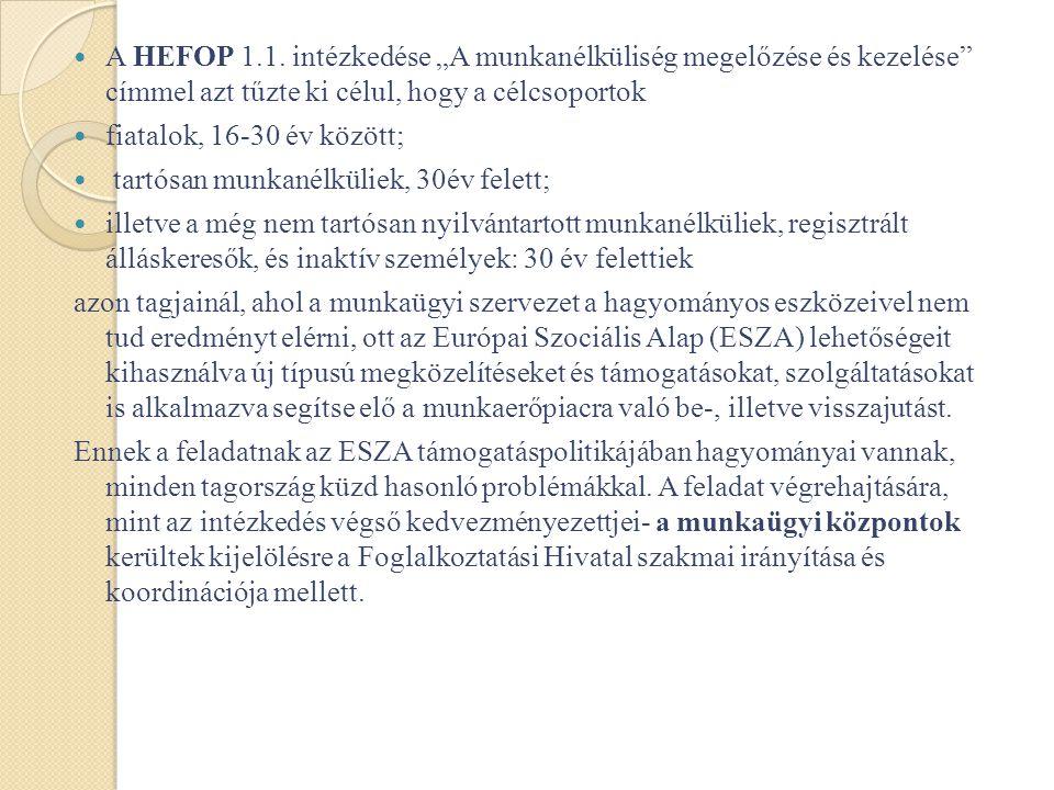 HEFOP 1.1 intézkedés A munkanélküliség megelőzése és kezelése •A HEFOP 1.1.