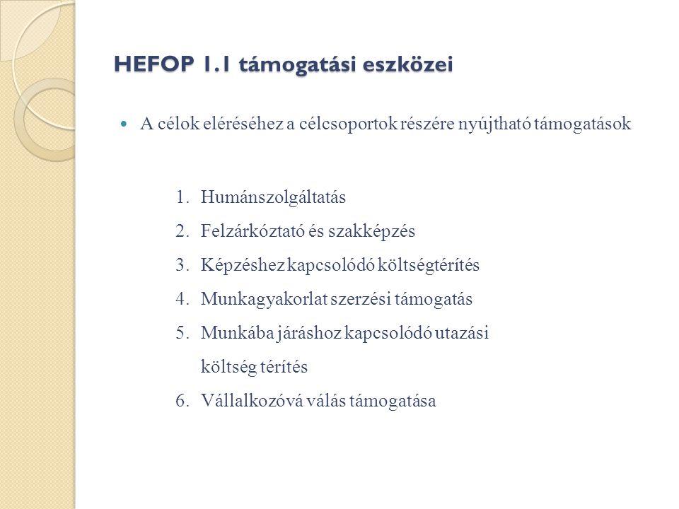 HEFOP 1.1 támogatási eszközei  A célok eléréséhez a célcsoportok részére nyújtható támogatások 1.Humánszolgáltatás 2.Felzárkóztató és szakképzés 3.Képzéshez kapcsolódó költségtérítés 4.Munkagyakorlat szerzési támogatás 5.Munkába járáshoz kapcsolódó utazási költség térítés 6.Vállalkozóvá válás támogatása