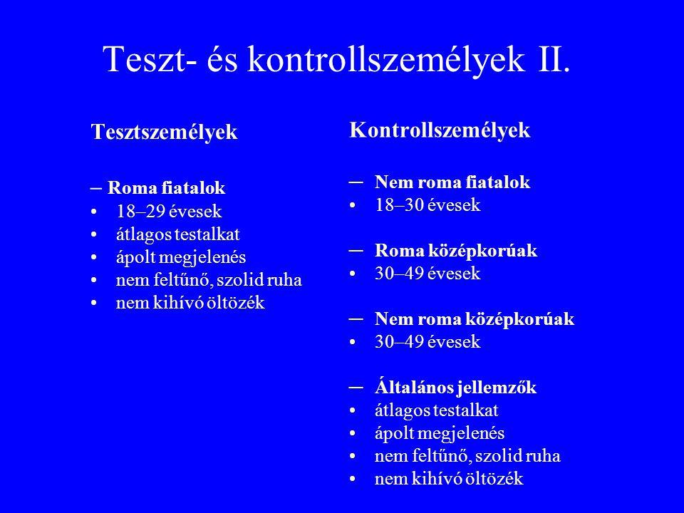 Teszt- és kontrollszemélyek II.
