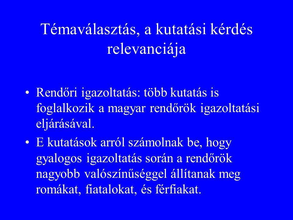 Témaválasztás, a kutatási kérdés relevanciája •Rendőri igazoltatás: több kutatás is foglalkozik a magyar rendőrök igazoltatási eljárásával.