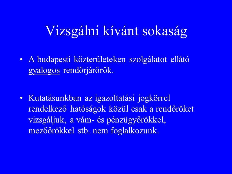 Vizsgálni kívánt sokaság •A budapesti közterületeken szolgálatot ellátó gyalogos rendőrjárőrök.