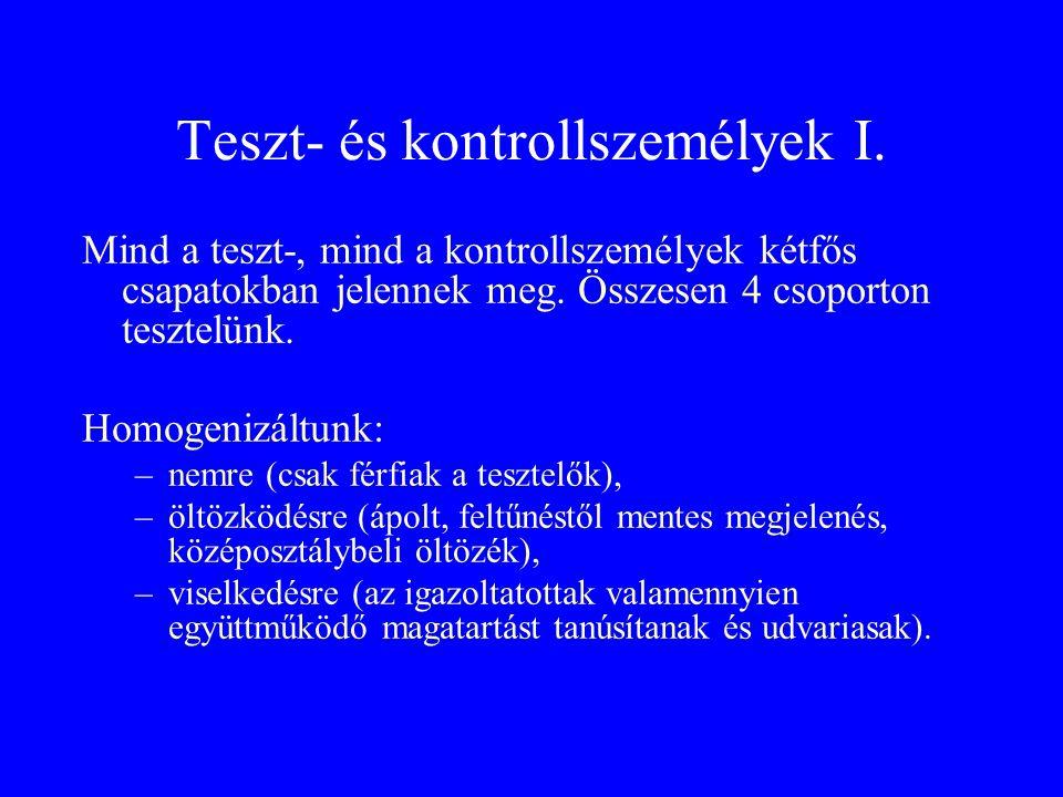 Teszt- és kontrollszemélyek I.
