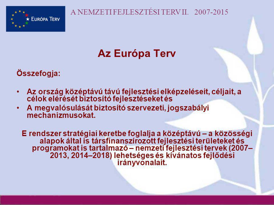 A NEMZETI FEJLESZTÉSI TERV II. 2007-2015 Az Európa Terv Összefogja: •Az ország középtávú távú fejlesztési elképzeléseit, céljait, a célok elérését biz
