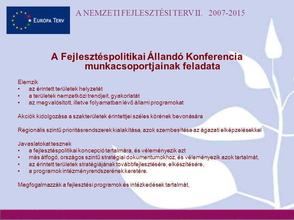 A NEMZETI FEJLESZTÉSI TERV II. 2007-2015 A Fejlesztéspolitikai Állandó Konferencia munkacsoportjainak feladata Elemzik •az érintett területek helyzeté
