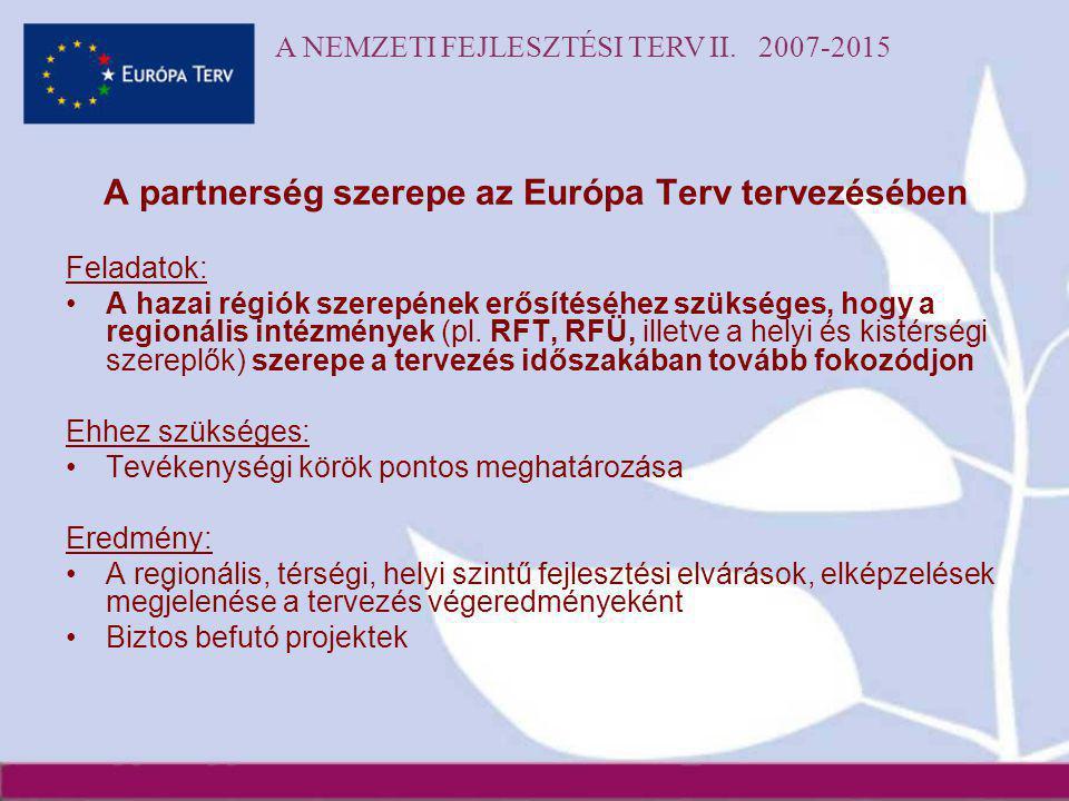 A NEMZETI FEJLESZTÉSI TERV II. 2007-2015 A partnerség szerepe az Európa Terv tervezésében Feladatok: •A hazai régiók szerepének erősítéséhez szükséges
