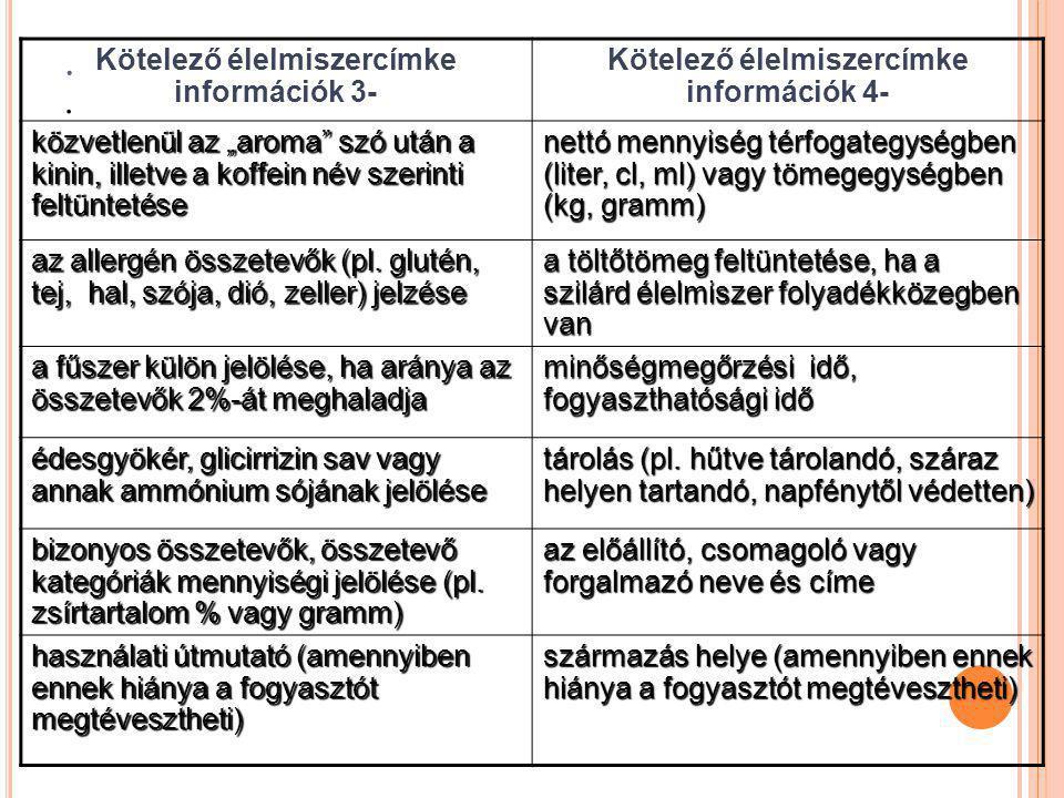 """.. Kötelező élelmiszercímke információk 3- Kötelező élelmiszercímke információk 4- közvetlenül az """"aroma"""" szó után a kinin, illetve a koffein név szer"""