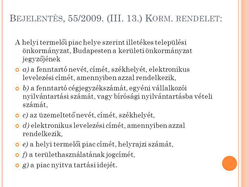 B EJELENTÉS, 55/2009. (III. 13.) K ORM. RENDELET : A helyi termelői piac helye szerint illetékes települési önkormányzat, Budapesten a kerületi önkorm