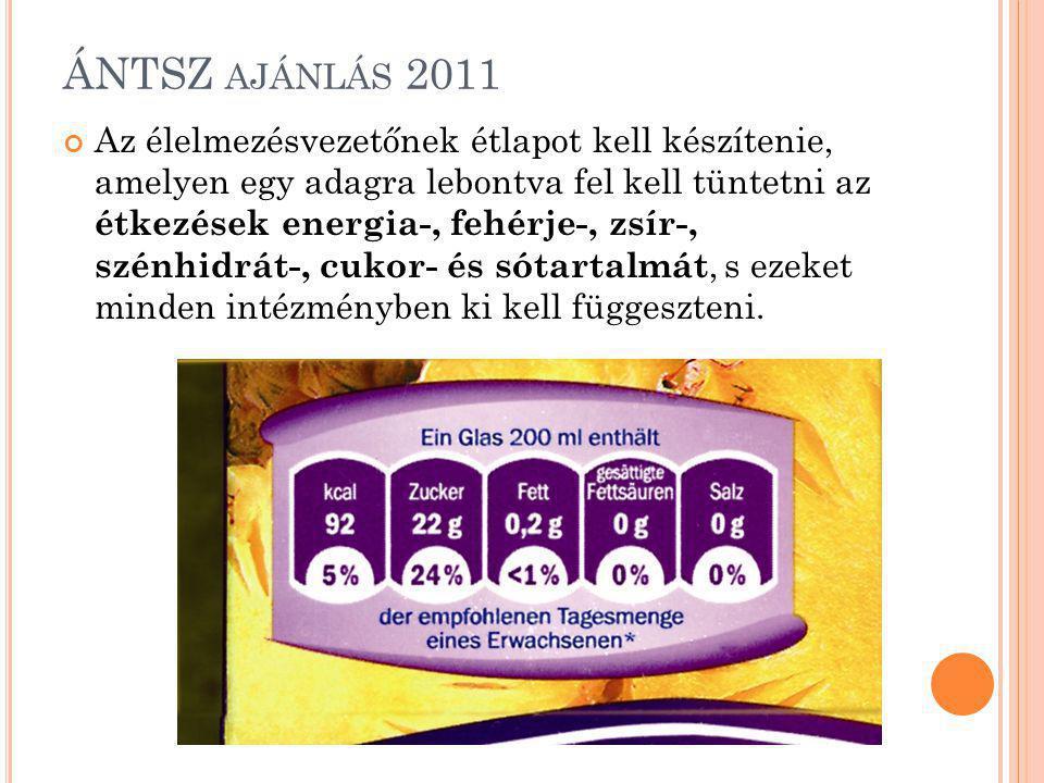 ÁNTSZ AJÁNLÁS 2011 Az élelmezésvezetőnek étlapot kell készítenie, amelyen egy adagra lebontva fel kell tüntetni az étkezések energia-, fehérje-, zsír-