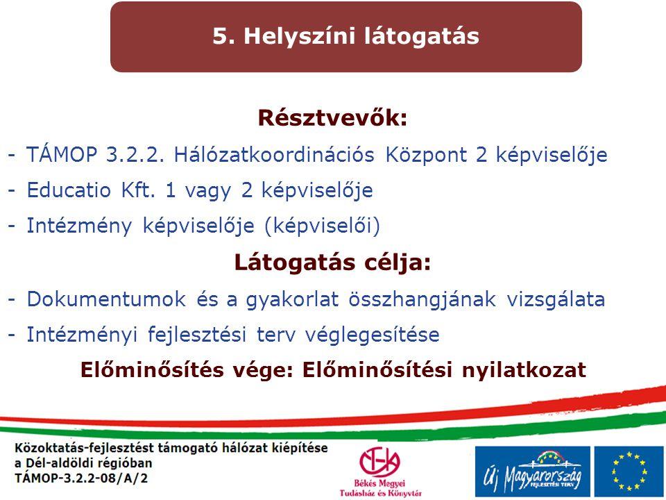 Résztvevők: -TÁMOP 3.2.2. Hálózatkoordinációs Központ 2 képviselője -Educatio Kft. 1 vagy 2 képviselője -Intézmény képviselője (képviselői) Látogatás