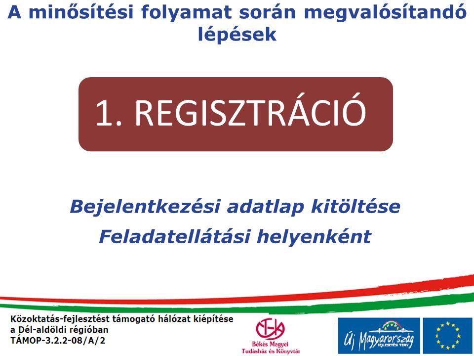 Bejelentkezési adatlap kitöltése Feladatellátási helyenként A minősítési folyamat során megvalósítandó lépések 1. REGISZTRÁCIÓ