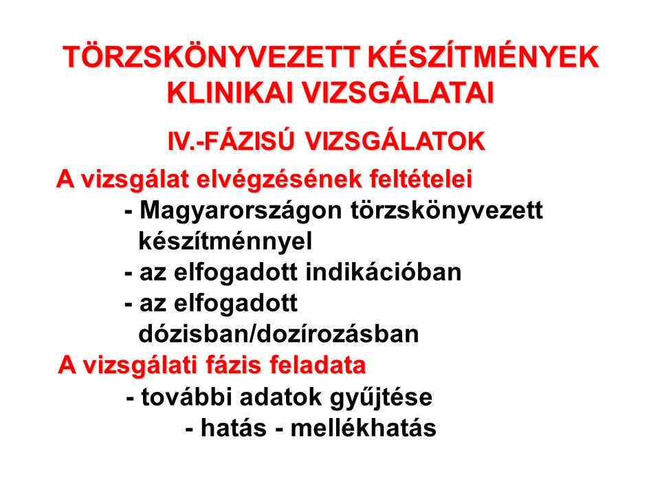 TÖRZSKÖNYVEZETT KÉSZÍTMÉNYEK KLINIKAI VIZSGÁLATAI IV.-FÁZISÚ VIZSGÁLATOK - Magyarországon törzskönyvezett készítménnyel - az elfogadott indikációban -