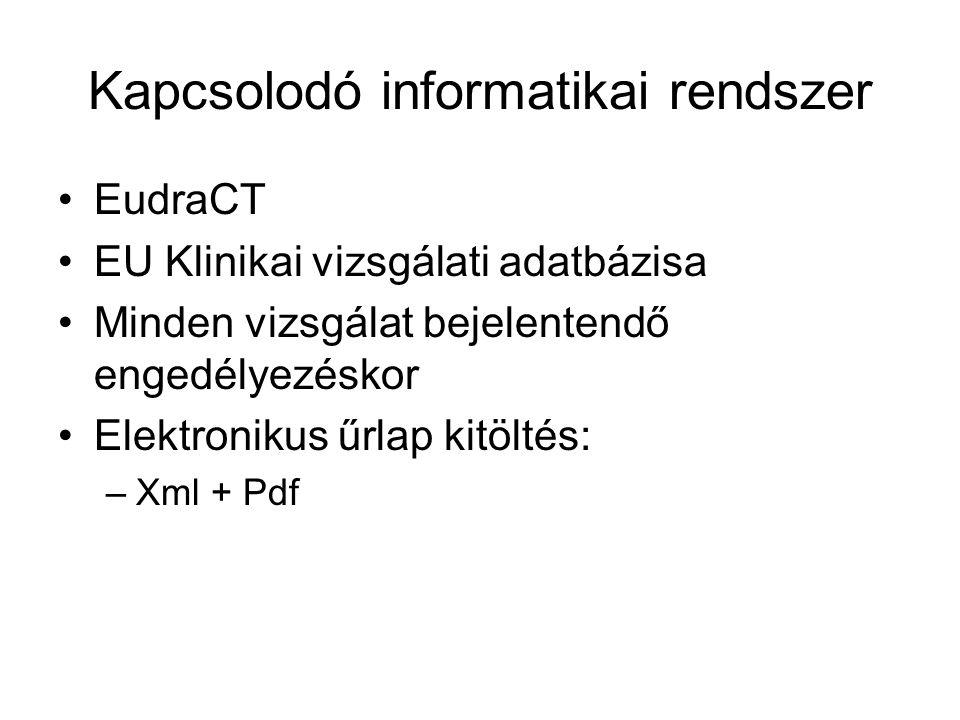 Kapcsolodó informatikai rendszer •EudraCT •EU Klinikai vizsgálati adatbázisa •Minden vizsgálat bejelentendő engedélyezéskor •Elektronikus űrlap kitölt