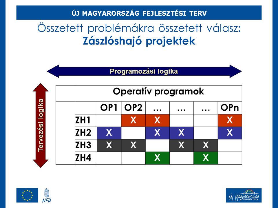Összetett problémákra összetett válasz : Zászlóshajó projektek Operatív programok OP1OP2………OPn ZH1XXX ZH2XXXX ZH3XXXX ZH4XX Programozási logika Tervez