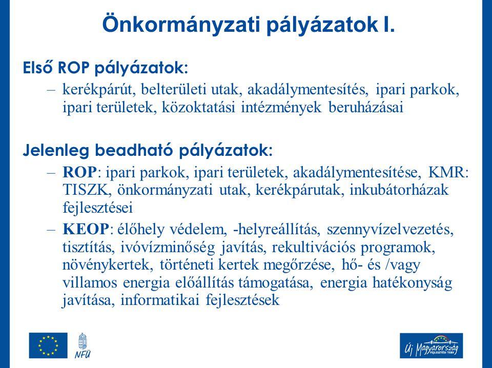 Önkormányzati pályázatok I. Első ROP pályázatok: –kerékpárút, belterületi utak, akadálymentesítés, ipari parkok, ipari területek, közoktatási intézmén