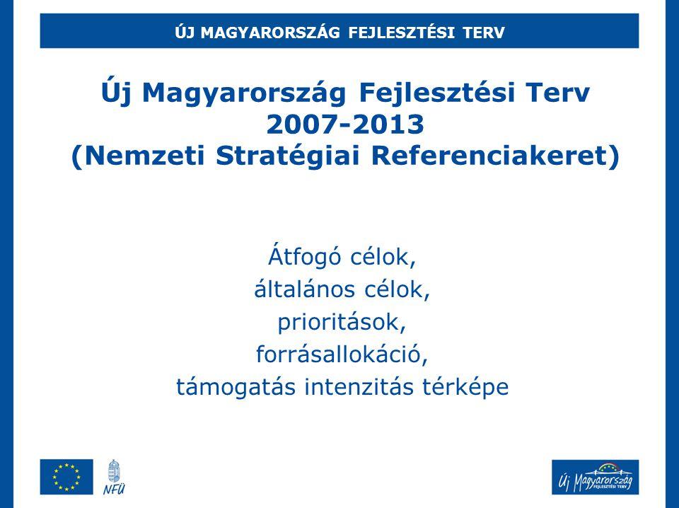 ÚJ MAGYARORSZÁG FEJLESZTÉSI TERV Átfogó célok, általános célok, prioritások, forrásallokáció, támogatás intenzitás térképe Új Magyarország Fejlesztési