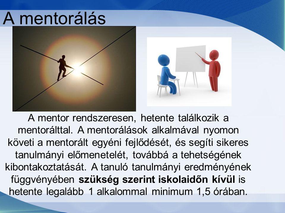 A mentorálás A mentor rendszeresen, hetente találkozik a mentorálttal.