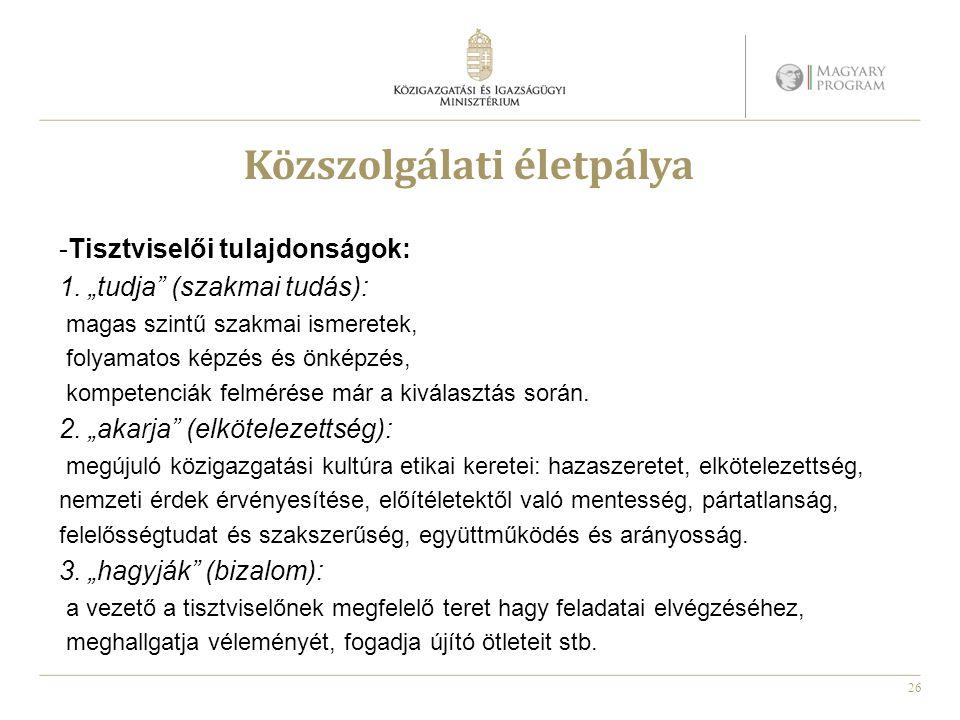 """26 Közszolgálati életpálya -Tisztviselői tulajdonságok: 1. """"tudja"""" (szakmai tudás): magas szintű szakmai ismeretek, folyamatos képzés és önképzés, kom"""