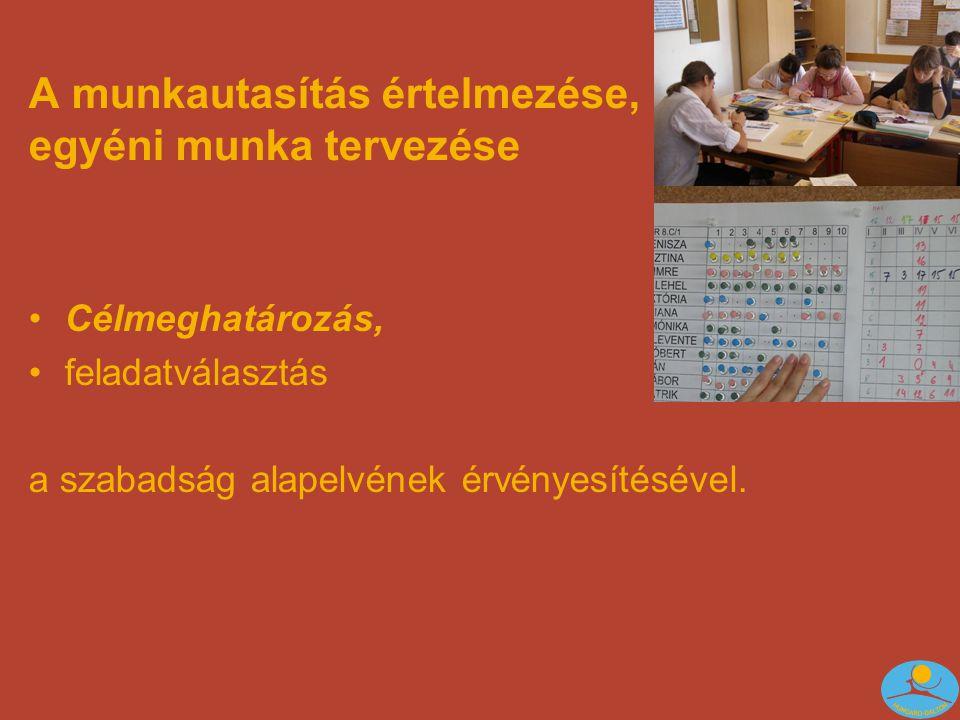 A munkautasítás értelmezése, egyéni munka tervezése •Célmeghatározás, •feladatválasztás a szabadság alapelvének érvényesítésével.