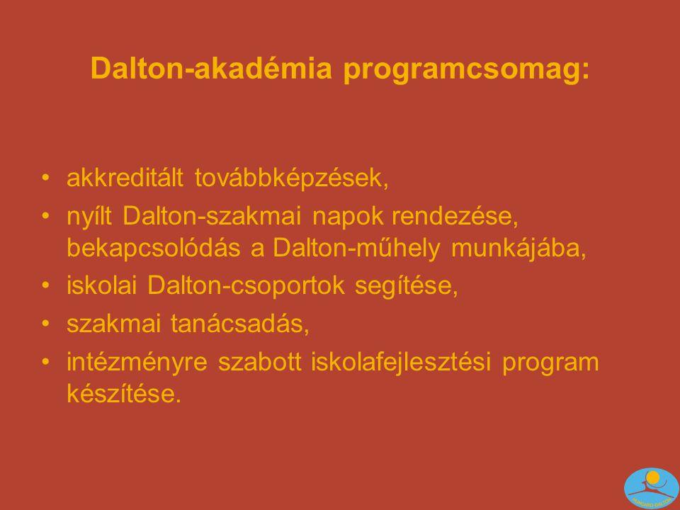 Dalton-akadémia programcsomag: •akkreditált továbbképzések, •nyílt Dalton-szakmai napok rendezése, bekapcsolódás a Dalton-műhely munkájába, •iskolai Dalton-csoportok segítése, •szakmai tanácsadás, •intézményre szabott iskolafejlesztési program készítése.