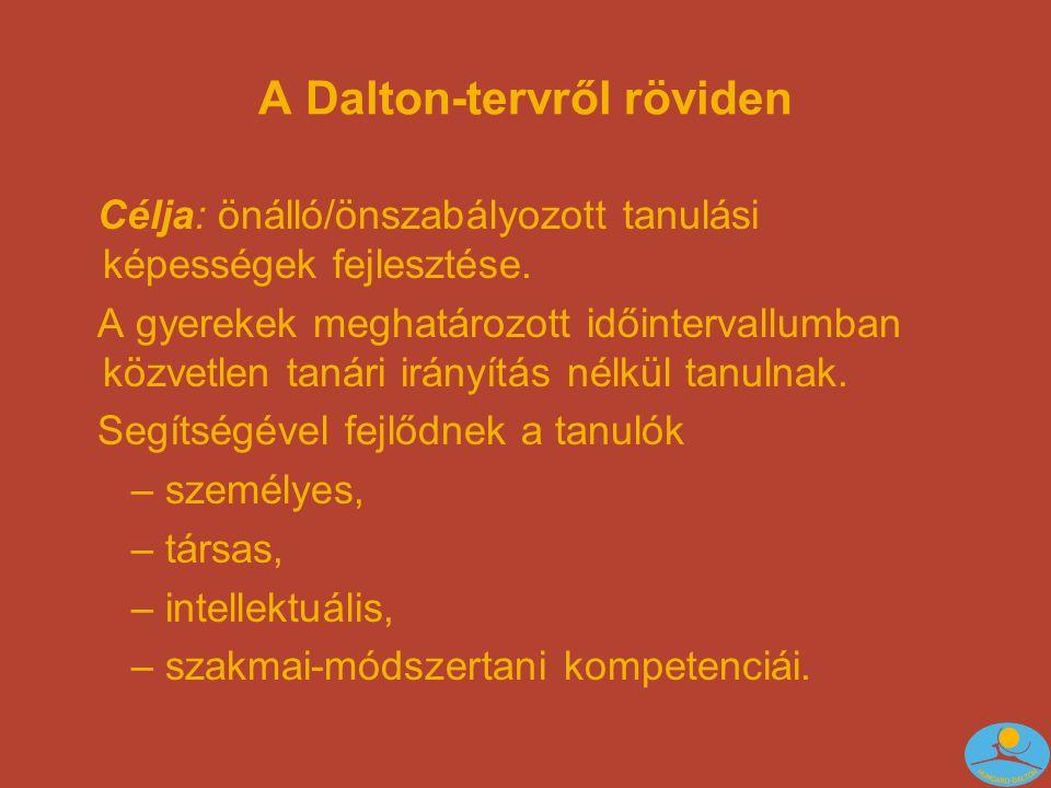 A Dalton-tervről röviden Célja: önálló/önszabályozott tanulási képességek fejlesztése.