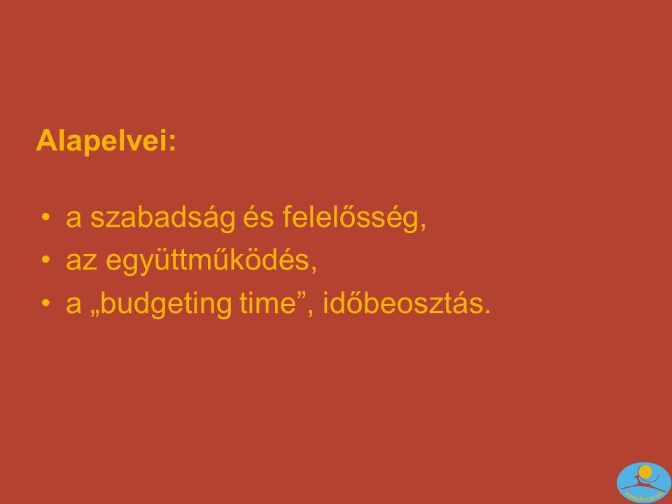 """Alapelvei: •a szabadság és felelősség, •az együttműködés, •a """"budgeting time , időbeosztás."""