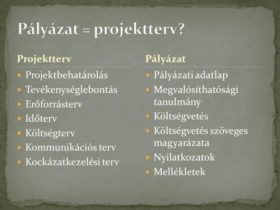 Pályázati projekt Pályázati adatlap Megvalósíthatósági tanulmány IndikátorokStratégiaMellékletek