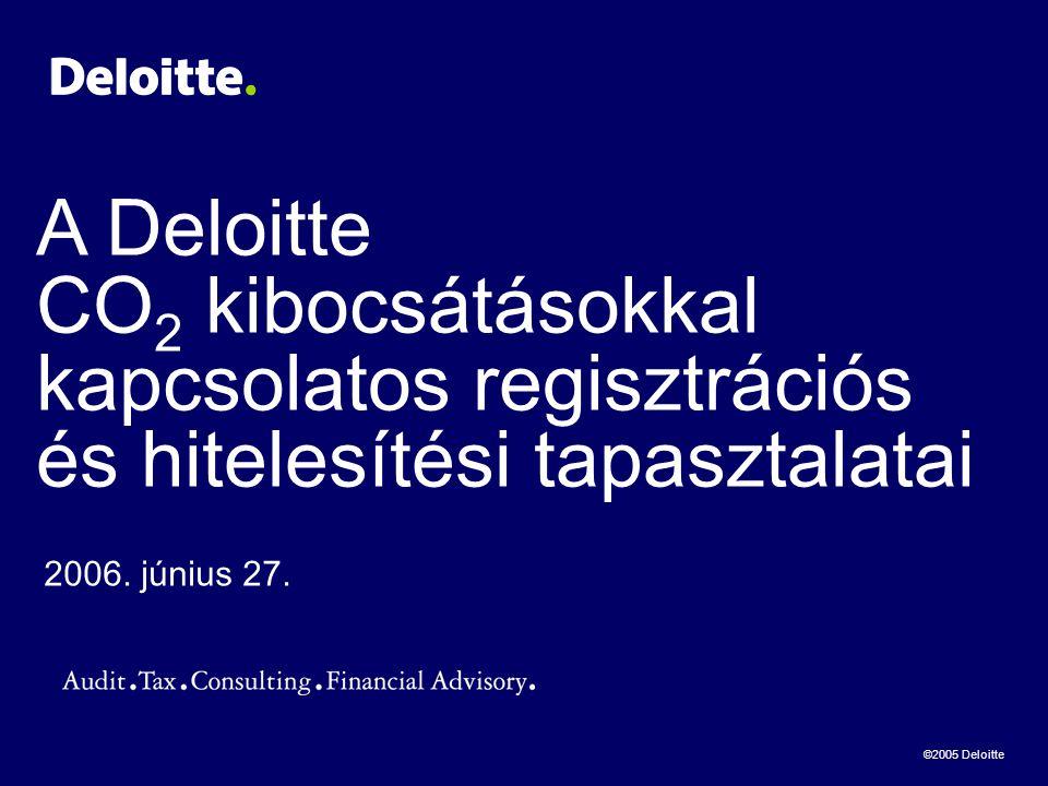 ©2005 Deloitte A Deloitte CO 2 kibocsátásokkal kapcsolatos regisztrációs és hitelesítési tapasztalatai 2006.