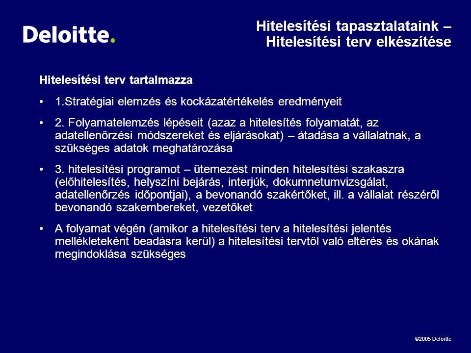©2005 Deloitte Hitelesítési tapasztalataink – Hitelesítési terv elkészítése Hitelesítési terv tartalmazza •1.Stratégiai elemzés és kockázatértékelés eredményeit •2.
