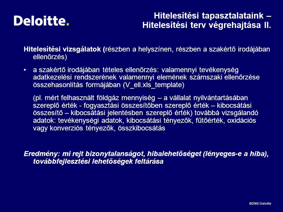 ©2005 Deloitte Hitelesítési tapasztalataink – Hitelesítési terv végrehajtása II.