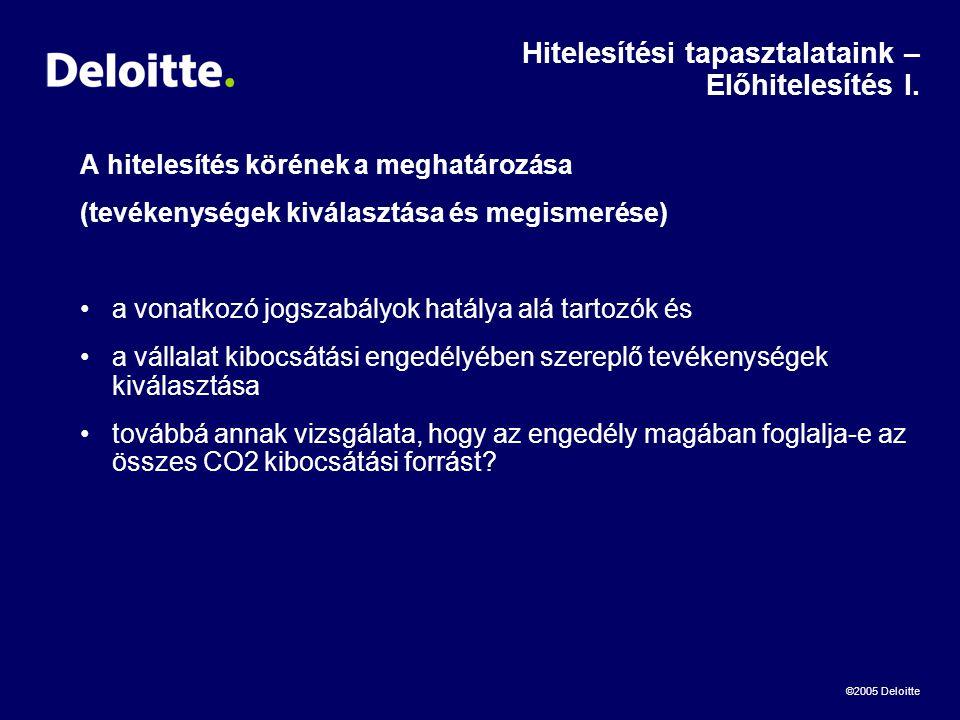 ©2005 Deloitte Hitelesítési tapasztalataink – Előhitelesítés I.