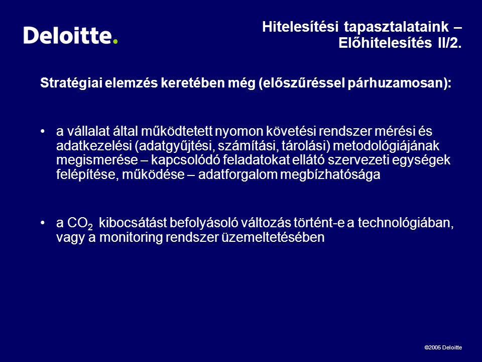 ©2005 Deloitte Hitelesítési tapasztalataink – Előhitelesítés II/2.