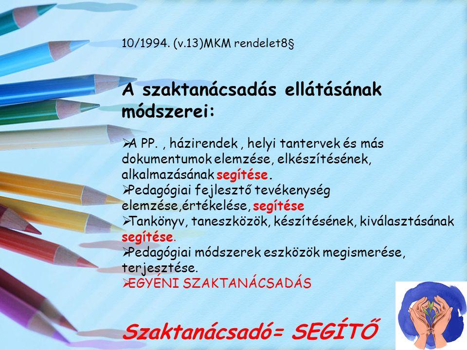 10/1994. (v.13)MKM rendelet8§ A szaktanácsadás ellátásának módszerei:  A PP., házirendek, helyi tantervek és más dokumentumok elemzése, elkészítéséne