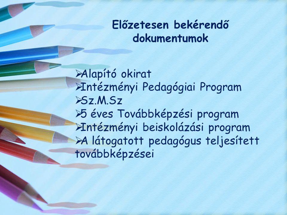 Előzetesen bekérendő dokumentumok  Alapító okirat  Intézményi Pedagógiai Program  Sz.M.Sz  5 éves Továbbképzési program  Intézményi beiskolázási