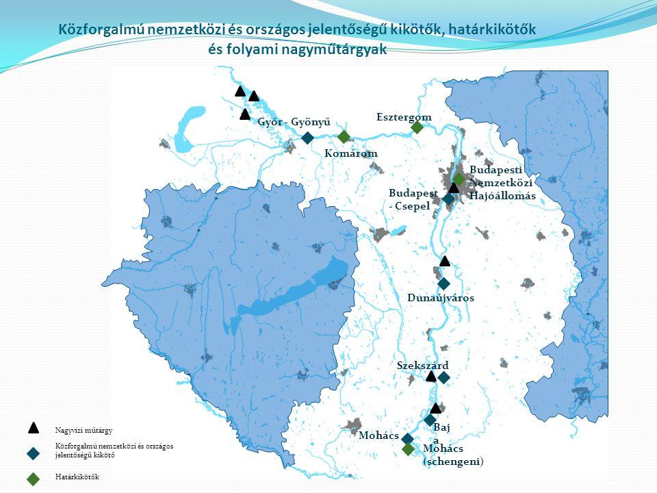 Közforgalmú nemzetközi és országos jelentőségű kikötők, határkikötők és folyami nagyműtárgyak Győr - Gyönyű Budapest - Csepel Dunaújváros Szekszárd Mo